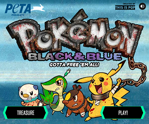 PETA satirical browser games - The title screen of Pokémon Black and Blue, a parody of ''Pokémon Black'' and ''White''. Injured Pokémon from left to right: Oshawott, Snivy, Tepig, and Pikachu.