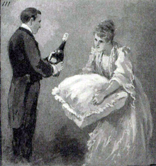 Man in formal evening clothes with a bottle of champagne; woman in evening clothes holding a cushion