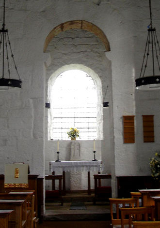 Christianity in Anglo-Saxon England - Typical Saxon altar as seen in Escomb Church.