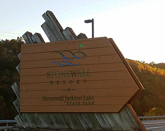 Stonewall Jackson Lake State Park - Entrance sign for Stonewall Resort along U.S. Route 19.