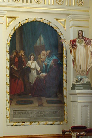Jesus at the temple artwork