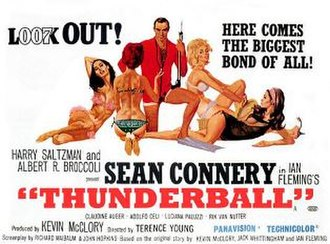Thunderball (film) - British cinema poster for Thunderball, designed and illustrated by Robert McGinnis and Frank McCarthy