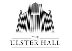 "Black geometric logo on white background, the stylised pipes of a pipe organ. The words ""The Ulster Hall"" are underneath, also in black."