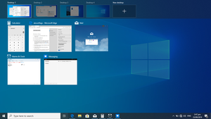 Virtual desktop - Virtual desktop in Windows 10 showing two open apps in the same desktop, with a thumbnail showing another desktop