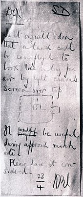 The original idea for the 'Sunshield', a handwritten note from General Wavell himself