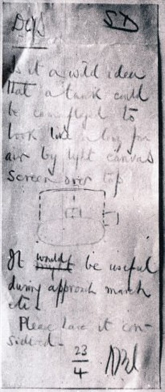 Operation Bertram - Wavell's handwritten note and sketch proposing the Sunshield, 23 April 1941
