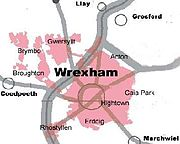 Wrexham's Urban Area (pink) and surrounding villages (circles)