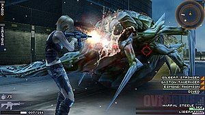 The 3rd Birthday - Combat in The 3rd Birthday. Shown is Aya in battle with a Twisted, along with the health of selectable human units, her ammo count, and other HUD displays.