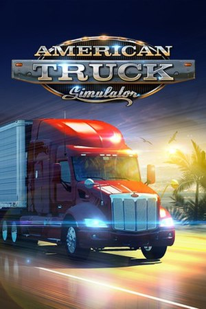 American Truck Simulator - An American Truck Simulator PC DVD ROM sample. A Peterbilt 579 carrying a trailer.