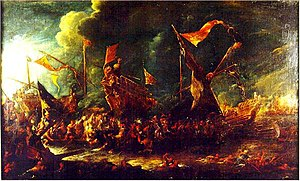 Battle of Cape Corvo - Battle between Spanish and Ottoman galleys. Oil on canvas attributed to Cornelis de Wael.