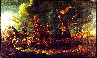 Battle of Cape Corvo - Battle between Spanish and Ottoman galleys. Oil on canvas attributed to Cornelis de Wael.