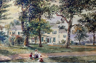 Bellevue Mansion - Bellevue Mansion, looking south from Nicetown Lane in 1856. Painting by Edmund Darch Lewis.