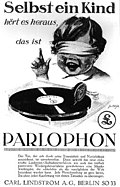 """Annonce """"Parlophon"""" de 1927, Berlin"""