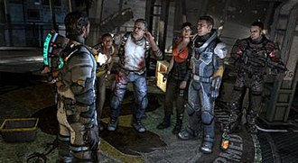 Dead Space 3 - The main cast of Dead Space 3. From left: Isaac Clarke, Jennifer Santos, Austin Buckell, Ellie Langford, Cpt. Robert Norton, and Sgt. John Carver.