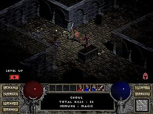 "Diablo (video game) - A warrior engages in combat with a ghoul enemy. A ""Level Up"" button indicates the character has attribute points available to distribute. The icon at the lower right indicates that the character's head protection is damaged and in danger of breaking."