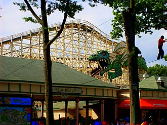Dragon Coaster (Playland) - The coaster's name derives from the Dragon's mouth tunnel seen here.