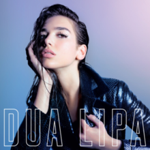 Dua Lipa wearing a scaled jacket, resting her head on her hand with wet hair over a blue-purple background. Her name and the album's title appear at the bottom in big block white letters.
