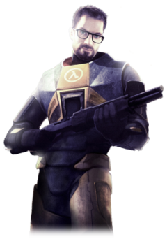 A Caucasian man in an armoured suit clutches a shotgun. The man has brown hair, a short beard and mustache, green eyes and thick black glasses. The suit is predominately orange with black trim, the Greek letter Lambda emblazoned on the suit's chest.