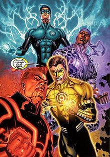 Kyle Rayner, John Stewart, Hal Jordan, and Guy Gardner use the rings of the new guardians.