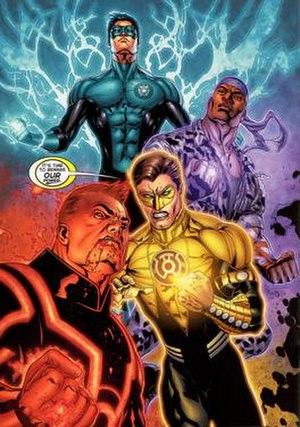 War of the Green Lanterns - (Clockwise from the top) Kyle, John, Hal, and Guy don the Blue, Indigo, Yellow, and Red power rings.