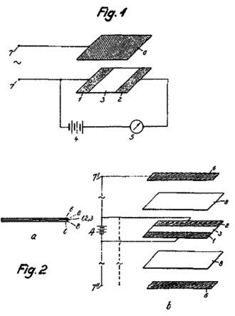 """Oskar Heil - Figures from Heil's British patent of 1935. The insulated gates are shown as reference number 6, with connection terminals 7, 7', and 7"""""""