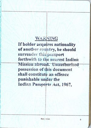 Indian nationality law - Warning stamped onto Indian Passports Issued by the High Commission of India, Ottawa, Canada