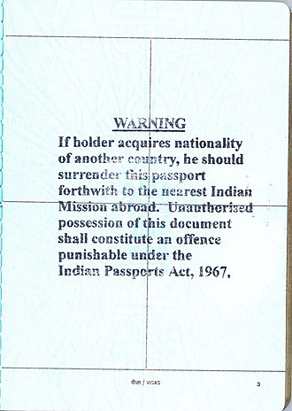 Indian nationality law - Warning stamped onto Indian Passports Issued by the High Commission of India, Ottawa, Ontario, Canada