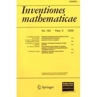 Inventiones Mathematicae - Image: Invent Math