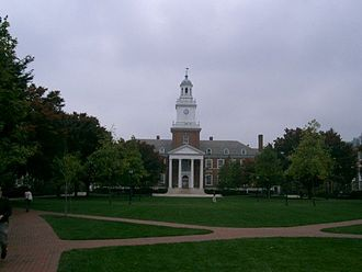 Homewood Campus of Johns Hopkins University - Gilman Hall at the head of the Upper Quad