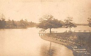 Lake Quinsigamond - View of Lake Quinsigamond shoreline in 1910