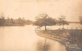 Lake Quinsigamond - View of Lake Quinsigamond shoreline in 1910