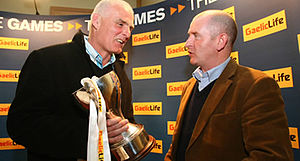 Antrim GAA - Former Antrim Senior football manager Liam Bradley (left) with Armagh manager Peter McDonnell (right) at the launch of the 2009 Dr. McKenna Cup