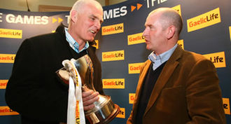 Dr. McKenna Cup - Antrim manager Liam Bradley (left) with Armagh manager Peter McDonnell (right) at the launch of the 2009 competition