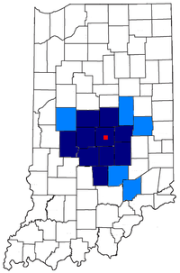 Map of Indianapolis-Carmel, IN MSA (dark blue)Indianapolis-Anderson-Columbus, IN CSA