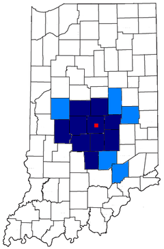 Indianapolis-Carmel, IN MSA (dark blue) Indianapolis-Anderson-Columbus, IN CSA.