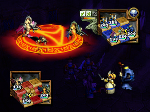 Ogre Battle 64: Person of Lordly Caliber - A battle taking place in the training room depicts a Princess and Lich combining their magical attacks to perform one, stronger attack.