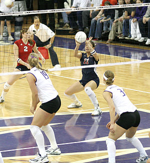 Volleyball jargon - An overhand dig.