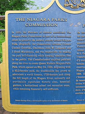 Niagara Parks Commission - Detail of a provincial plaque commemorating the NPC, near the brink of the Falls.