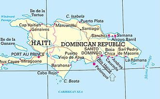 Haina Occidental Port - Map of Dominican Republic showign location of Rio Haina
