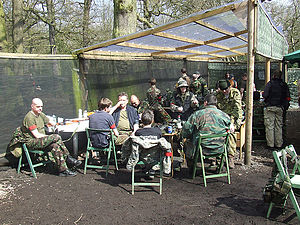 Airsoft - Players in the 'safe zone' between games
