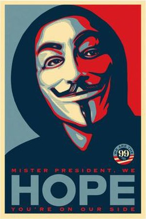 "Barack Obama ""Hope"" poster - Fairey's 2011 adaptation for the occupy movement"