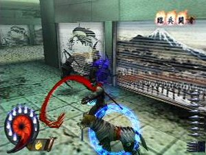 Shinobi (2002 video game) - Hotsuma kills an enemy in the game's urban Japanese setting. The necessity of his sword to absorb the souls of his victims creates urgency in the gameplay
