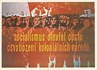 """Czechoslovak anti-colonialist propaganda poster: """"Socialism opened the door of liberation for colonial nations."""""""