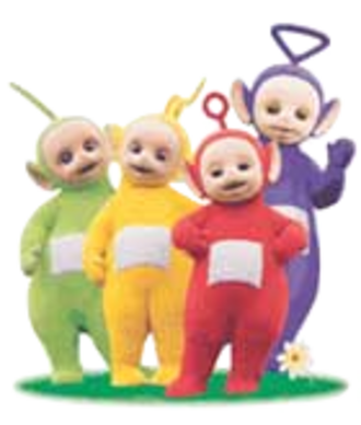Teletubbies - The main characters. From left to right: Dipsy, Laa-Laa, Po, and Tinky Winky.