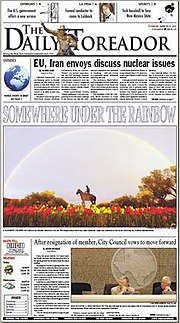 Front page view of student newspaper The Daily Toreador.