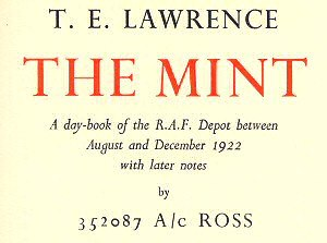 The Mint (book) - Detail of title page showing elegant hardback style on cream cartridge paper
