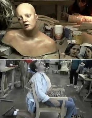 Scream (1996 film) - Barrymore's replica model and the chair used to display Steve Orth's death. Note the actor kneeling behind it.