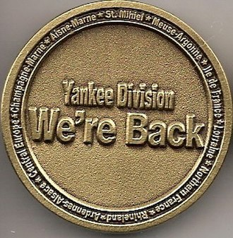 26th Infantry Division (United States) - Back of the Yankee Division We're Back challenge coin