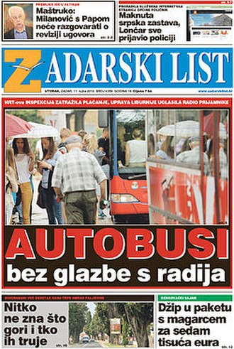 Zadarski list - Front page of the 11 September 2012 issue