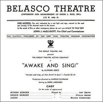 Awake and Sing! - Playbill title page, Belasco Theatre, 1935